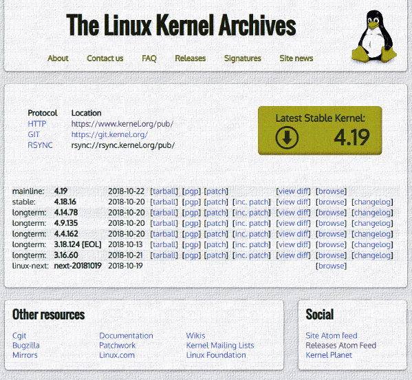 Linux Kernel version 4.19 released